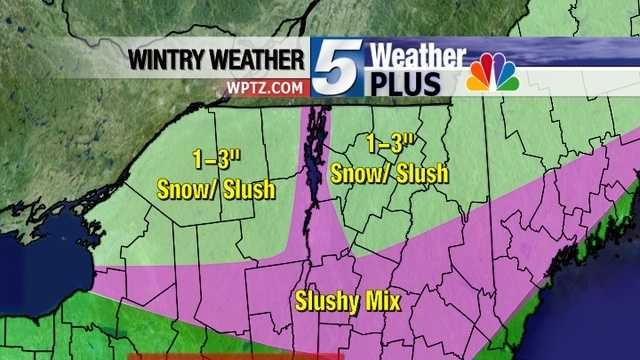 "A messy mix of precipitation moves in overnight and continues through Friday. The mountains will get the most snow, 1-3"" expected."