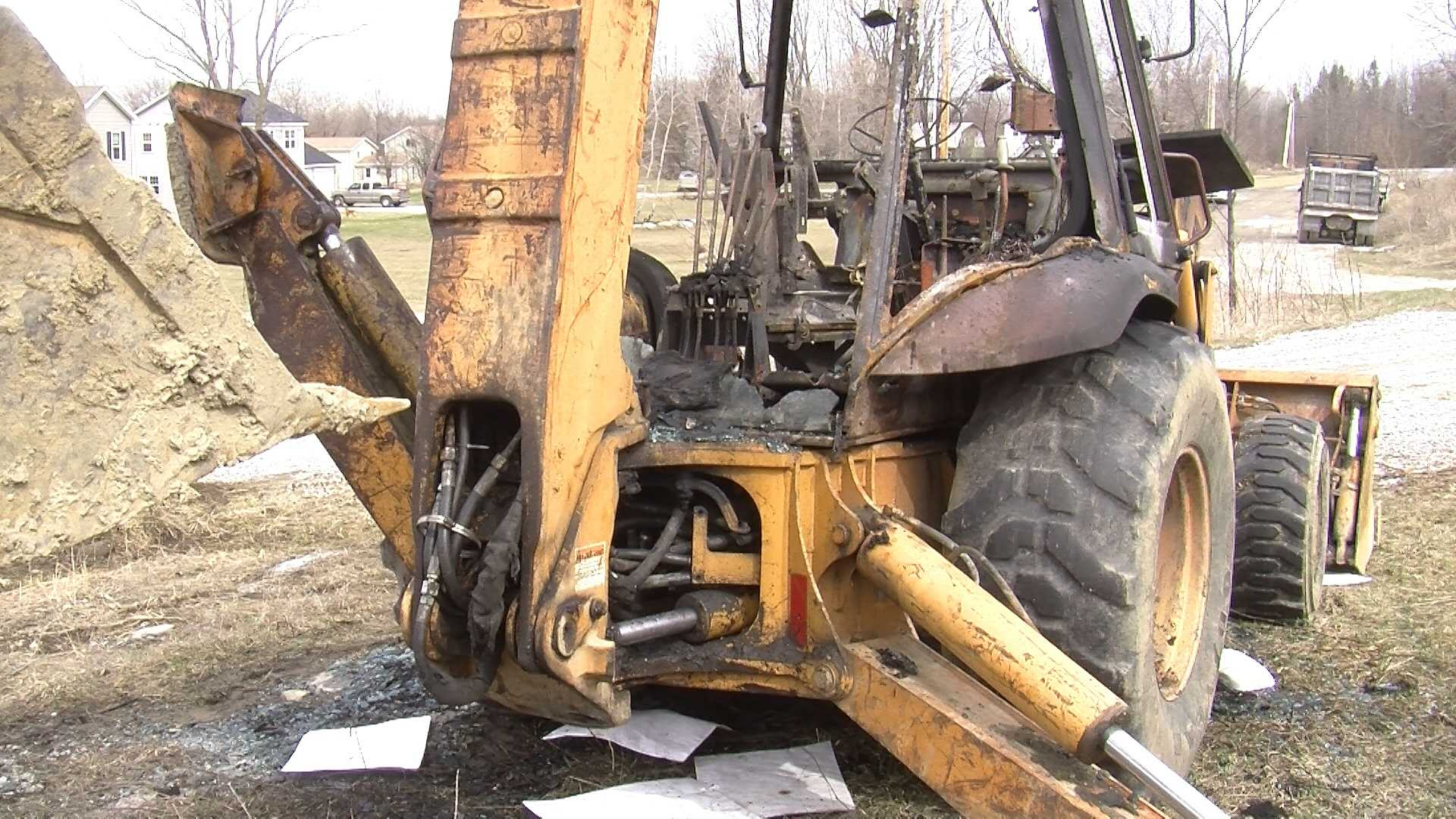 Police say three pieces of heavy construction equipment were destroyed by an arson fire on Wednesday night.