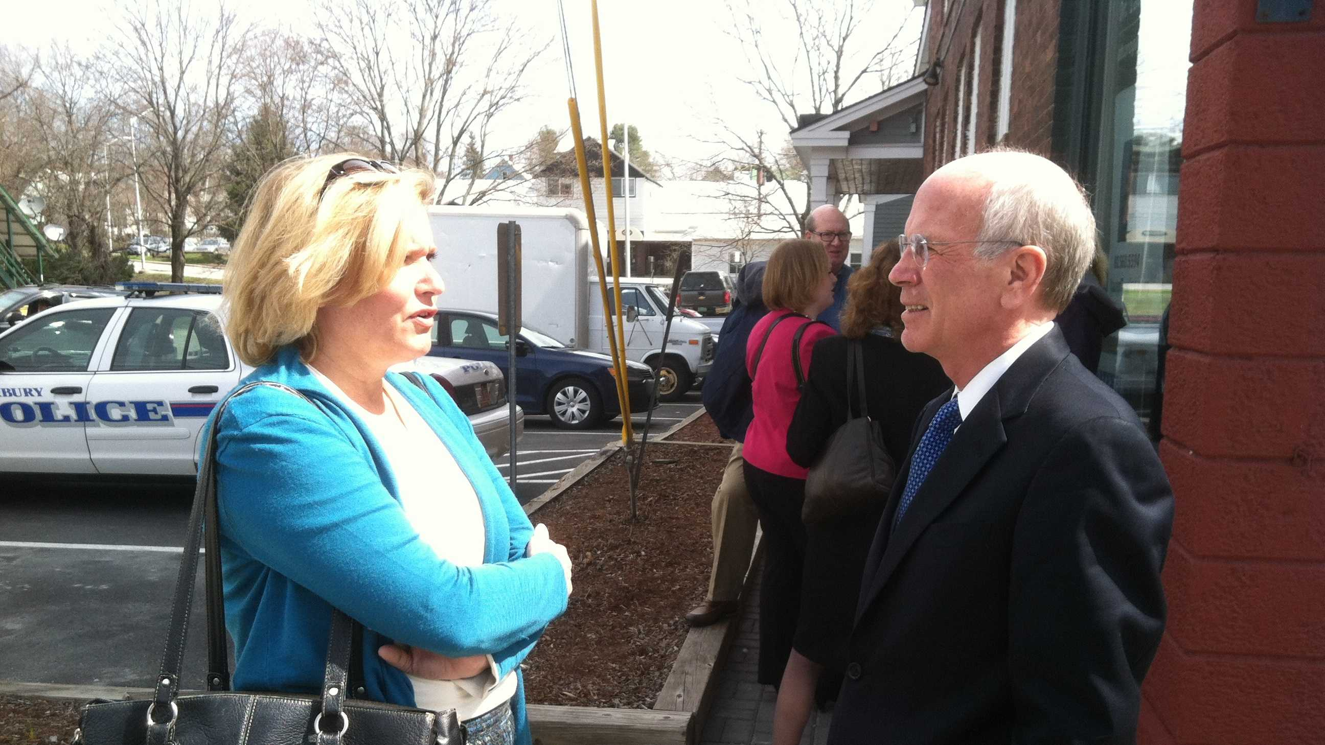 Rep. Peter Welch talks with U.S. Small Business Administration Associate Administrator Jeanne Hulit in Waterbury Monday.