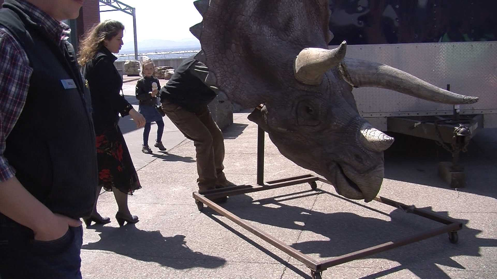 It was a busy day down by the waterfront, as staff at the ECHO Lake Aquarium and Science Center welcomed some prehistoric visitors from Hollywood.