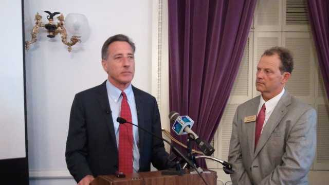 Gov. Peter Shumlin at a Statehouse news conference Thursday, as Agriculture Secretary Chuck Ross looks on.