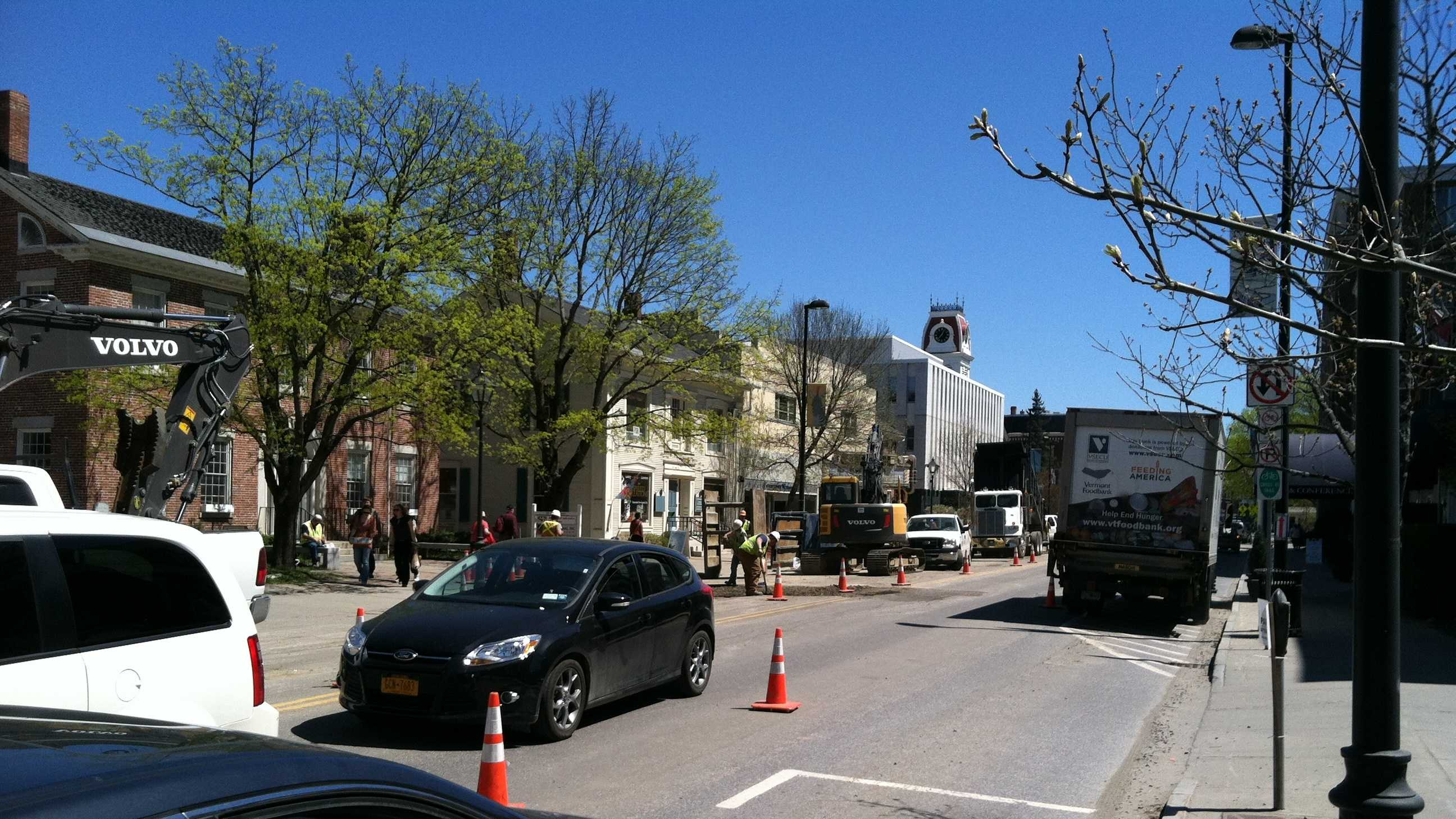Traffic crawls down State Street in Montpelier due to construction.