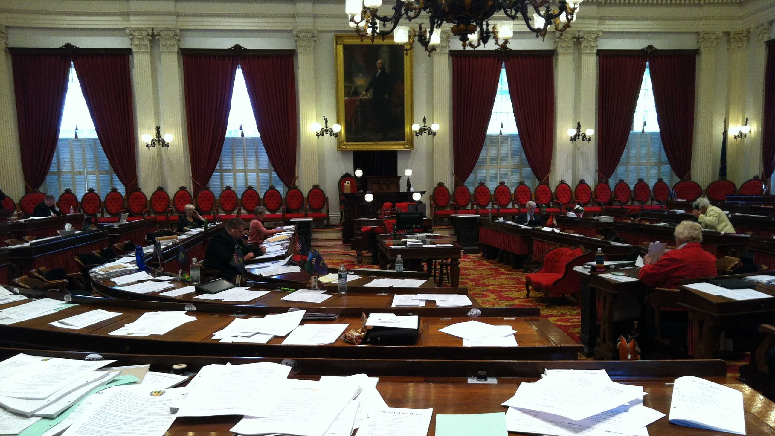 A mostly empty House chamber on the final day of the 2013 session.