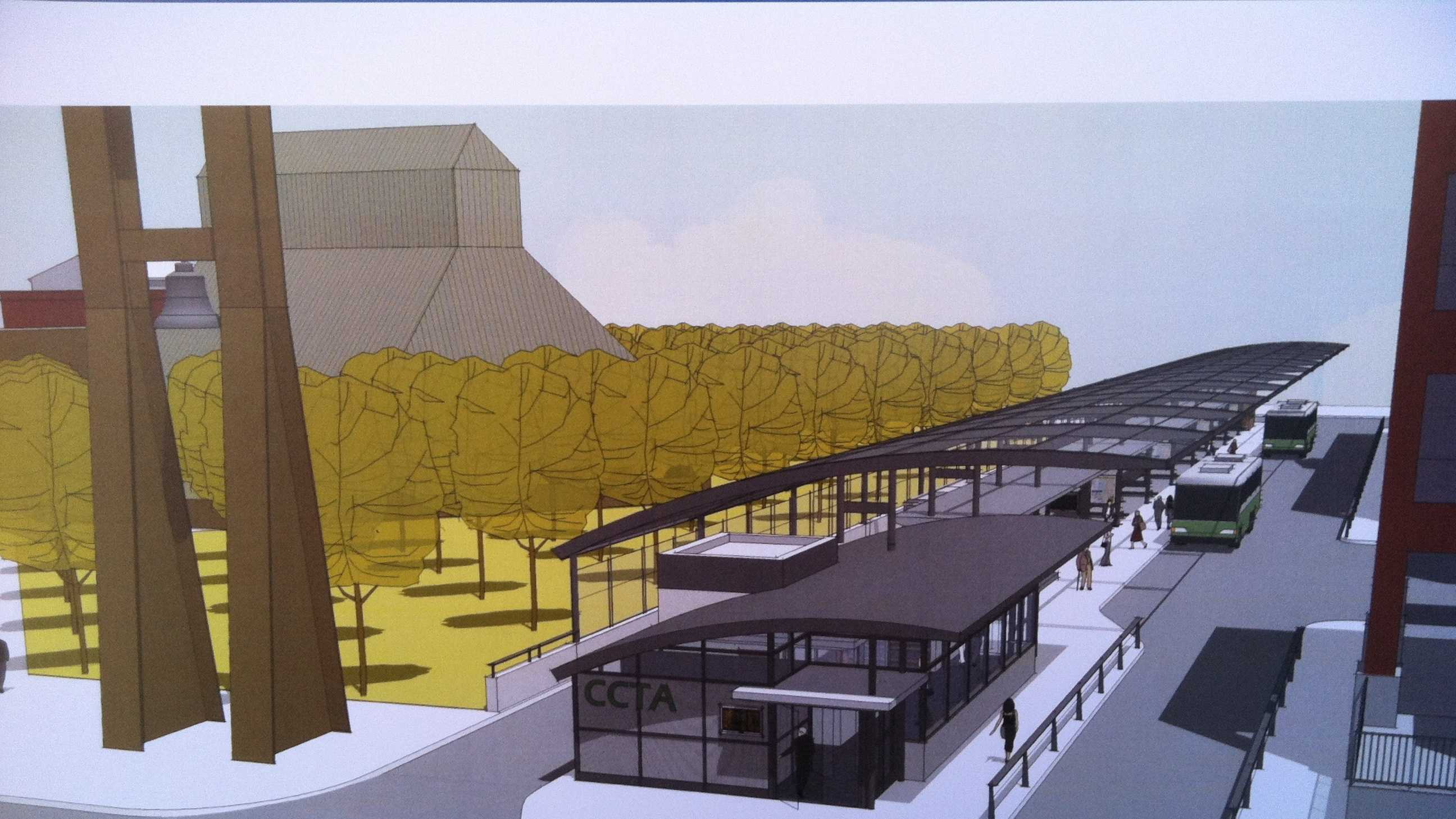 An architect rendering of a $8.9 million downtown transit center CCTA plans to build next year between Cherry and Pearl St.