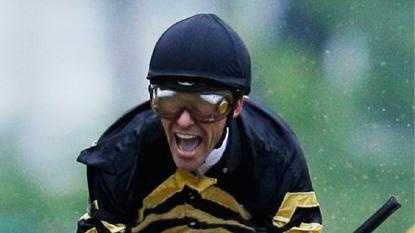 A Joyful Gary Stevens After Crossing The Finish Line Aboard Oxbow in Saturday's Preakness Stakes at Pimlico Racecourse.