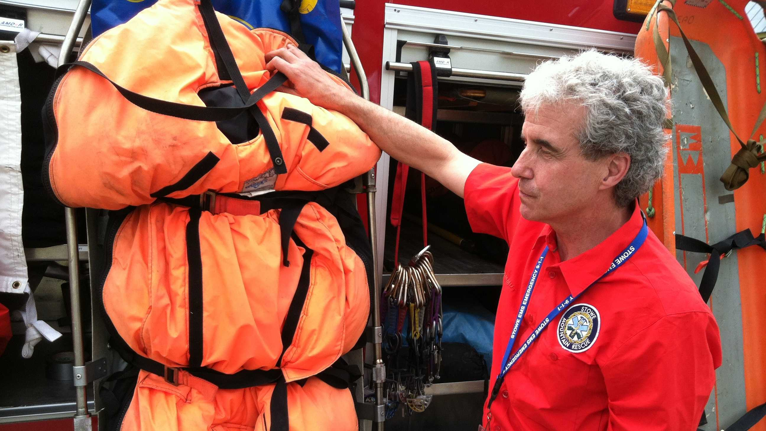 Graham Govoni, of Stowe Mtn. Rescue, shows the insulated bag used to transport cold, injured skiers down off the mountain.
