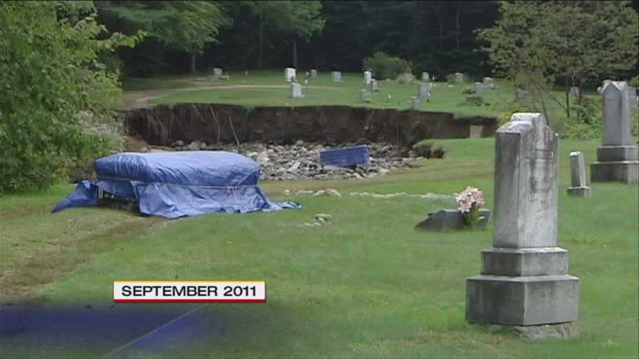 The Woodlawn Cemetery was left in ruins when the quiet Nason Brook swelled into a raging monster during Tropical Storm Irene in August, 2011.