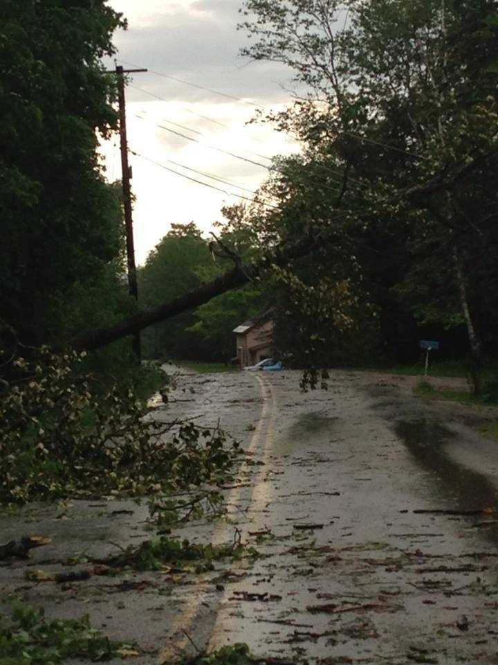 Trees and power lines down in Chittenden, Vt.