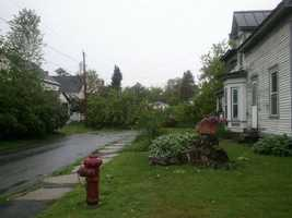 Trees and wires down on Union Street in St. Johnsbury.