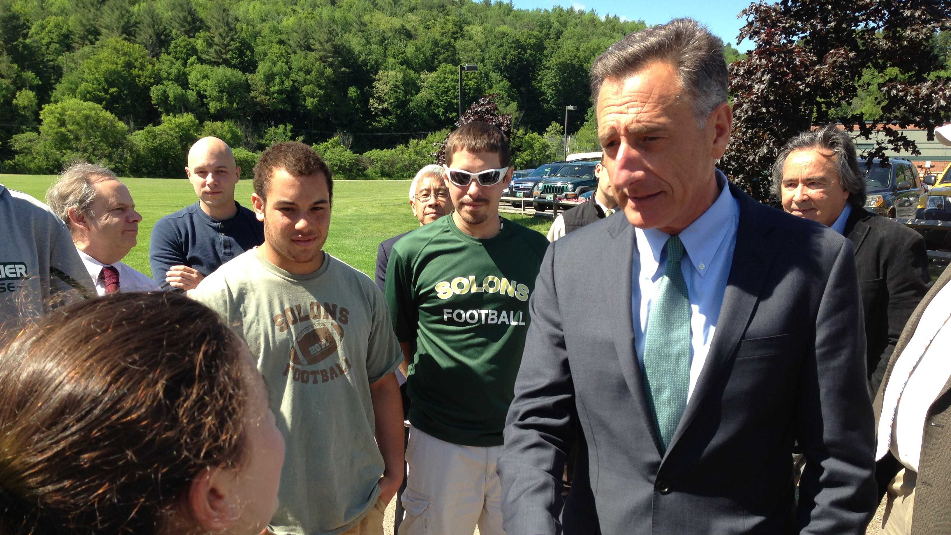 Gov. Peter Shumlin greets athletes at Montpelier High School Tuesday before signing the concussion bill.