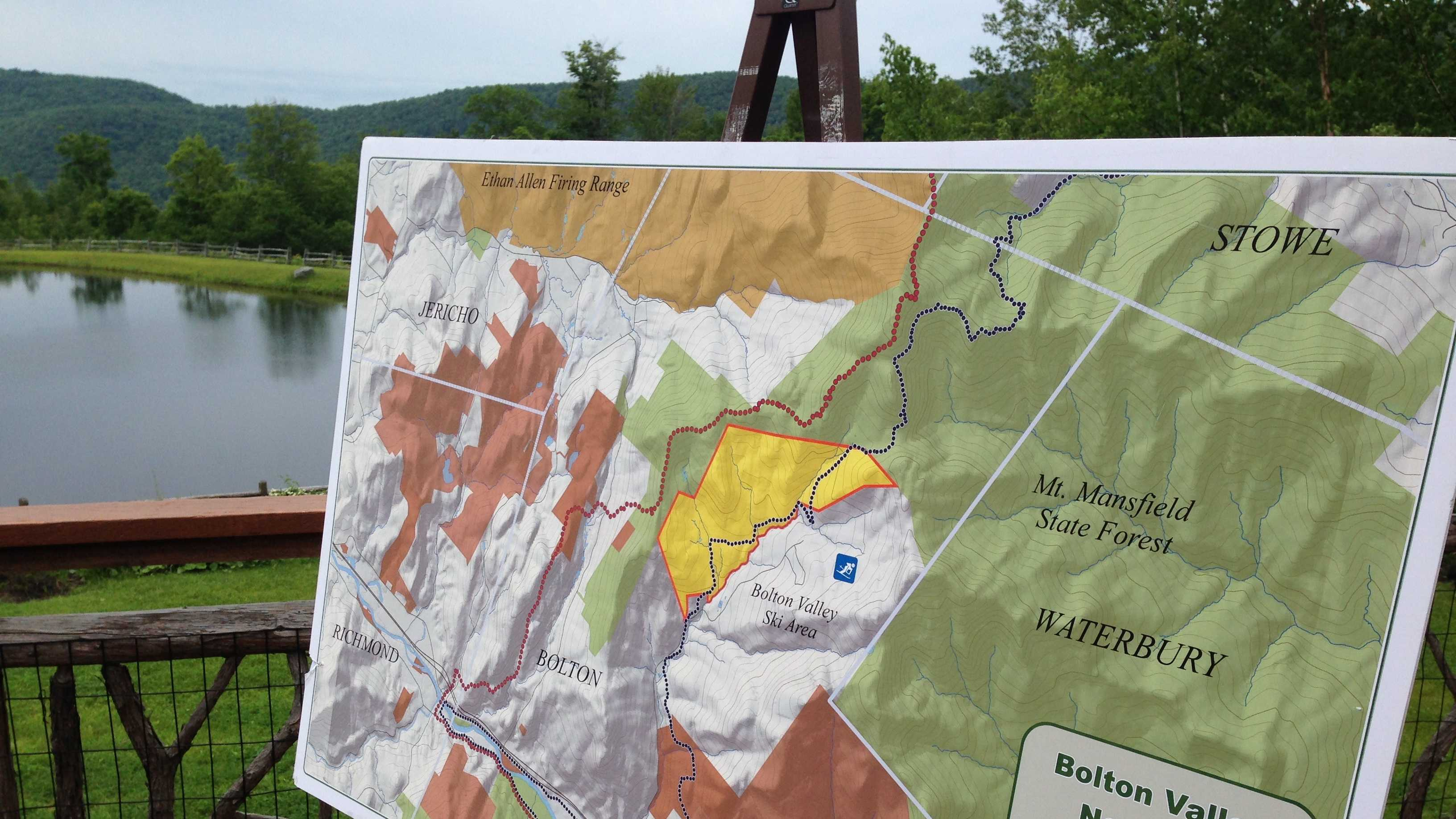 The state assumed ownership Thursday of an 1,144 acre parcel in Bolton shaded in yellow.