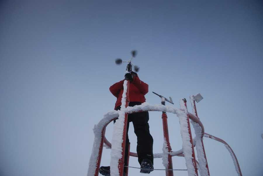 Wind at the summit is measured using either of two instruments. When winds are light, a three-cup anemometer records the velocity, as it is especially sensitive. However, stronger winds (over 30 mph) combined with possible icing, call for a specialized device called a pitot-static anemometer. Using a customized application for a piece of aviation hardware, the Observatory's pitot vanes into the wind and measures its speed essentially through the pressure exerted through a hole in the front of the instrument.