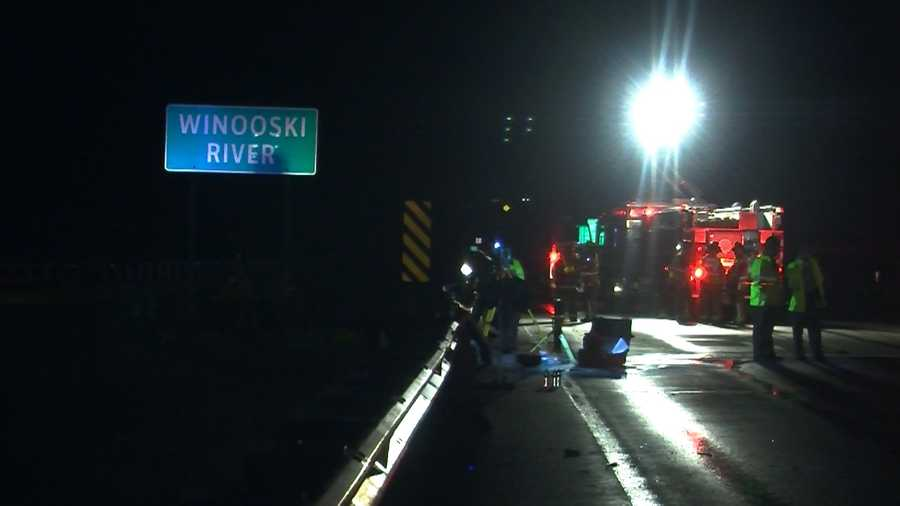 A tractor-trailer plunged off Interstate 89 southbound into the banks of the Winooski River, closing the road for hours.