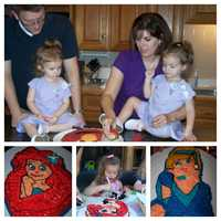 I love to bake. My mother and grandmother taught me how when I was a little girl. I'm told my brownies are divine but I'm most proud of my cakes. I enjoy decorating them too. I make special cakes for my daughters' birthday every year. Here's Ariel, Cinderella and Elmo. I know, they're not exact replicas, but they were made with lots of love.