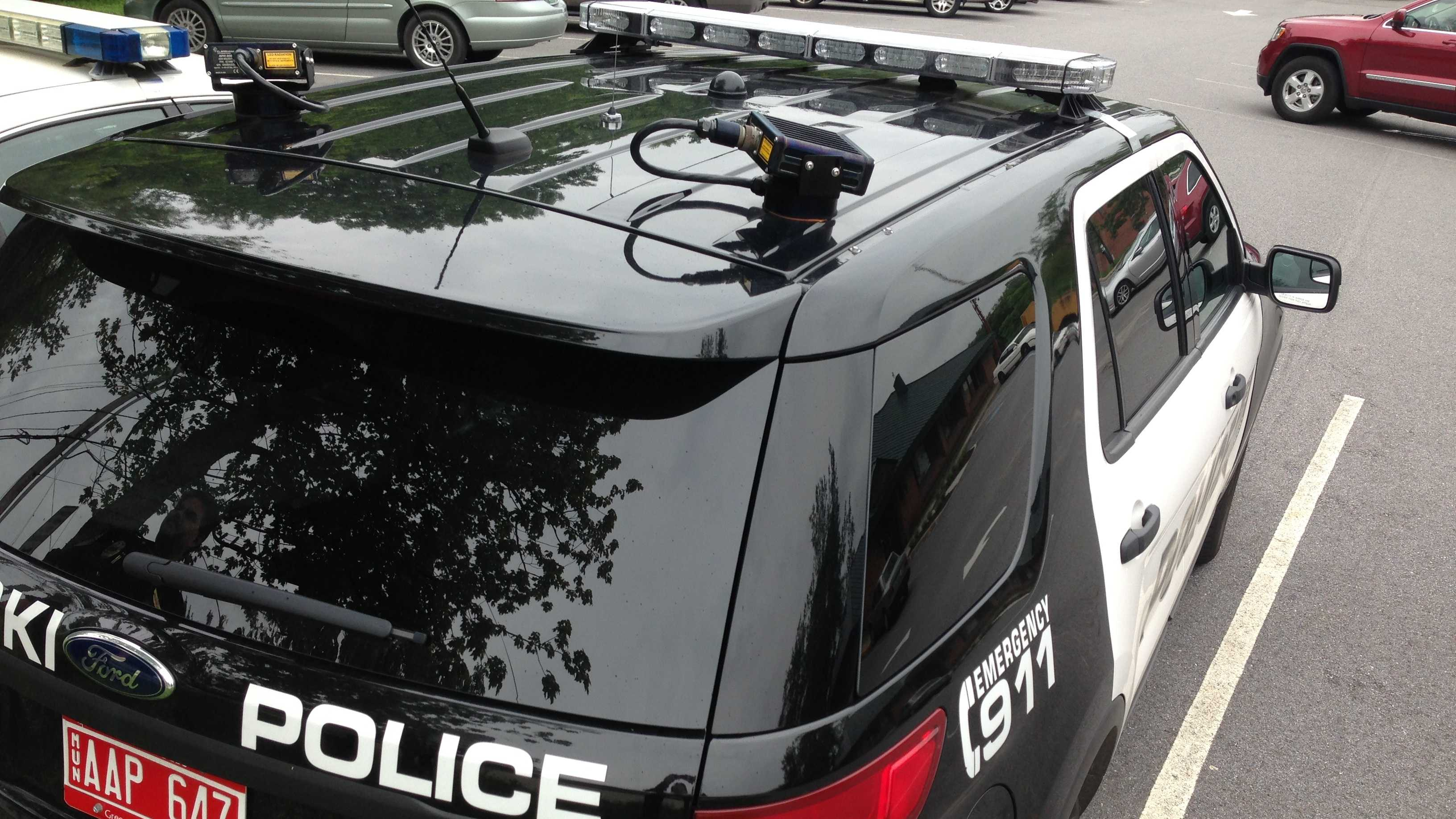 A Winooski police car mounted with cameras that automatically read license plates of passing cars and alert officers to motorists with outstanding violations.