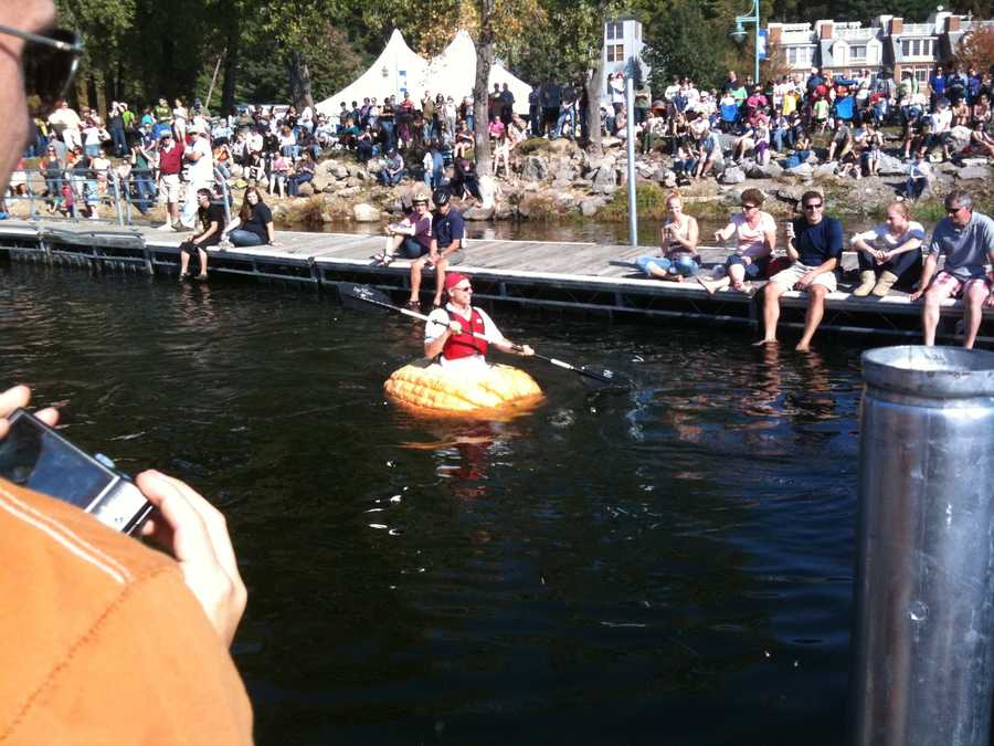 23.  Tom 'raced' in the Giant Pumpkin Regatta on Burlington's waterfront twice. It's a fundraiser for Linking Learning to Life. It is not easy paddling those things.