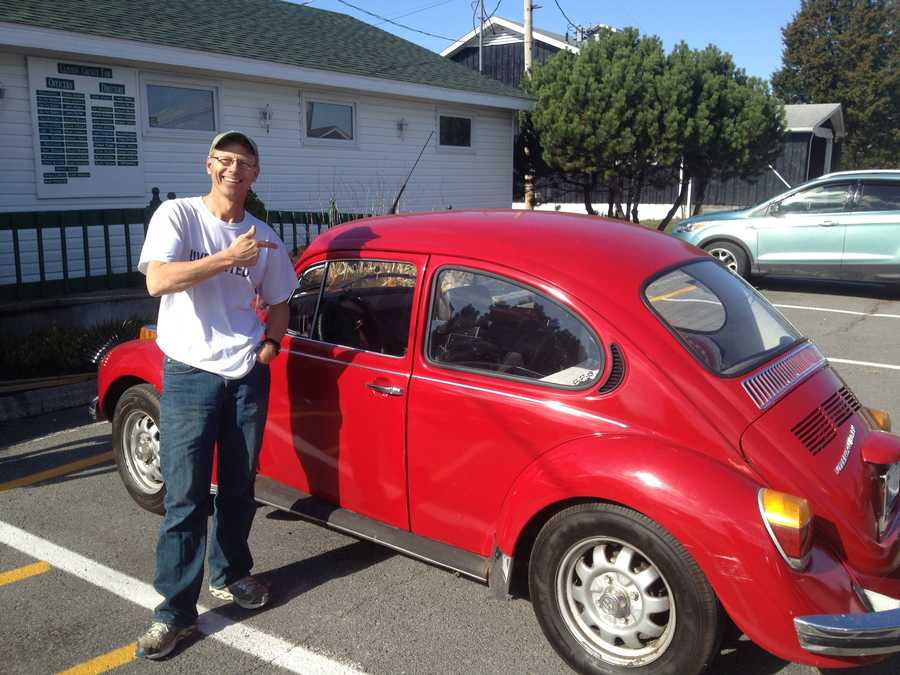2.  Tom's first car was an early 70s Volkswagon Beetle. It looked just like this one.