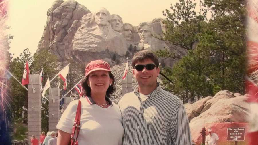 After graduating, the family travelled across the country. Mount Rushmore was smaller than expected.