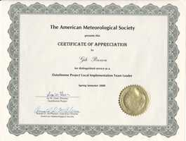 I am a member of the AMS and a AMS Seal Holder since 1988. I served as a member of the Local Implementation Team for the northeastern US with project Datastreme, funded by the National Science Foundation.