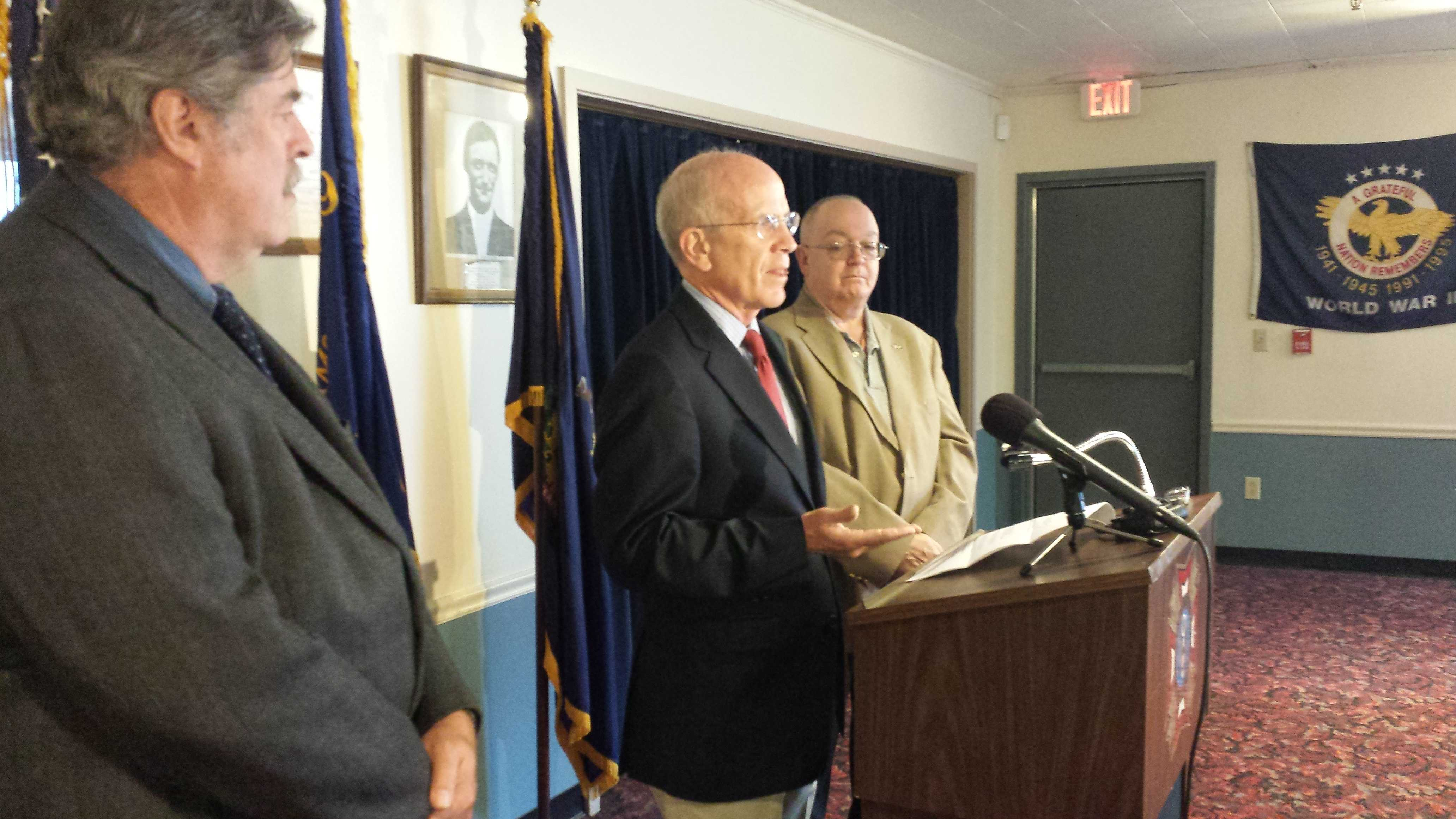 U.S. Rep. Peter Welch at a news conference at the VFW in Montpelier, with Vt. Veterans Services Director Richard Reed (left) and Bob Nicodemus, Veterans Advocate at the DAV  in White River Junction.