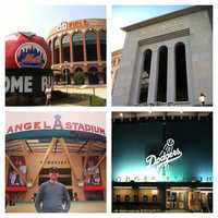 He has been to 7 current MLB stadiums, including NY and LA. He's also been to stadiums in Toronto, Cleveland, and Houston. As well as the old Yankee Stadium, Shea Stadium, and Olympic Stadium in Montreal.