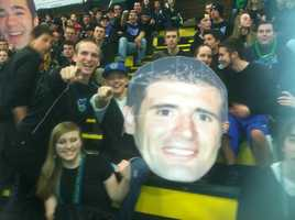 He's had a big head of himself made by the students at Colchester high school. Thanks guys!