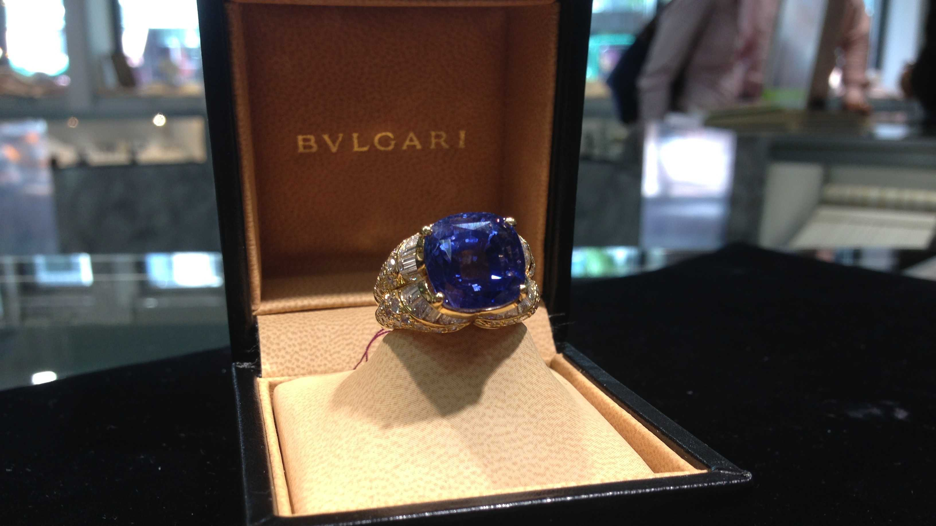 This 14-carat sapphire and gold ring is part of a large collection of unusual estate jewelry featured this weekend at Lippa's.