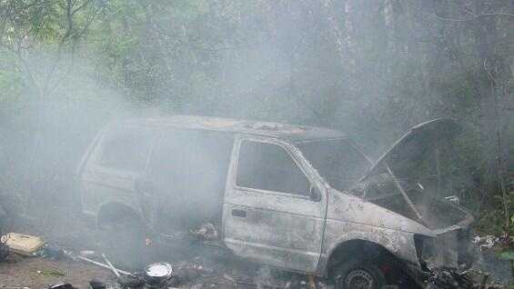Minivan on fire at Vt homeless encampment - img