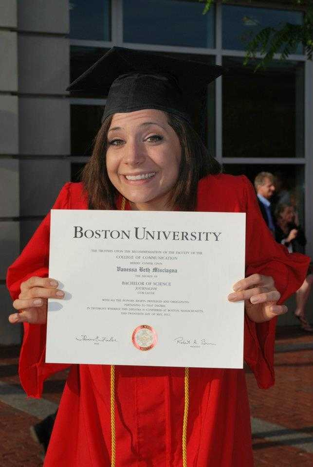 """I went to BU's College of Communication- just like WPTZ's David Charns! I majored in broadcast journalism and minored in religious studies. This is my """"I just graduated, now what do I?"""" face."""