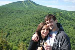 Another reason why I love living here is the beautiful scenery and great hiking. Here is my special someone and me at Deer Leap Overlook in Killington. We're toasting because we just helped our friend propose to his fiancé-- not a bad location to pop the question!