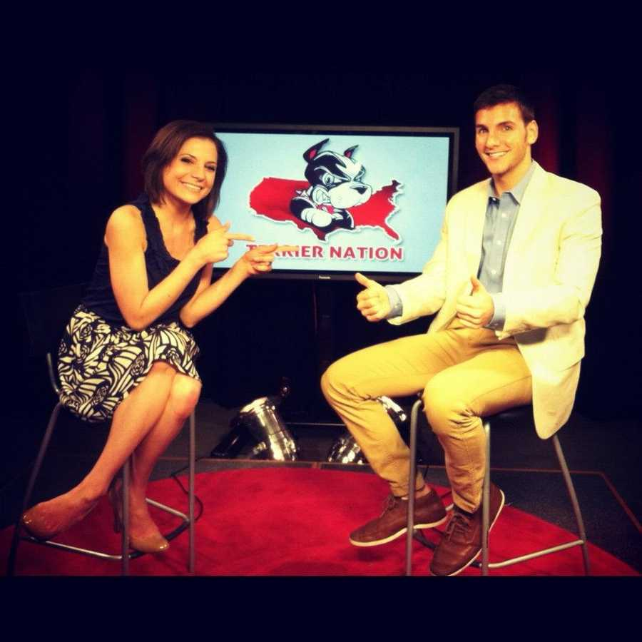 I went to Boston University for college, which is a D-1 sports school, and I was no D-1 athlete, so I reported on sports instead. I hosted Terrier Nation, a sports highlights show on BU's cable station.