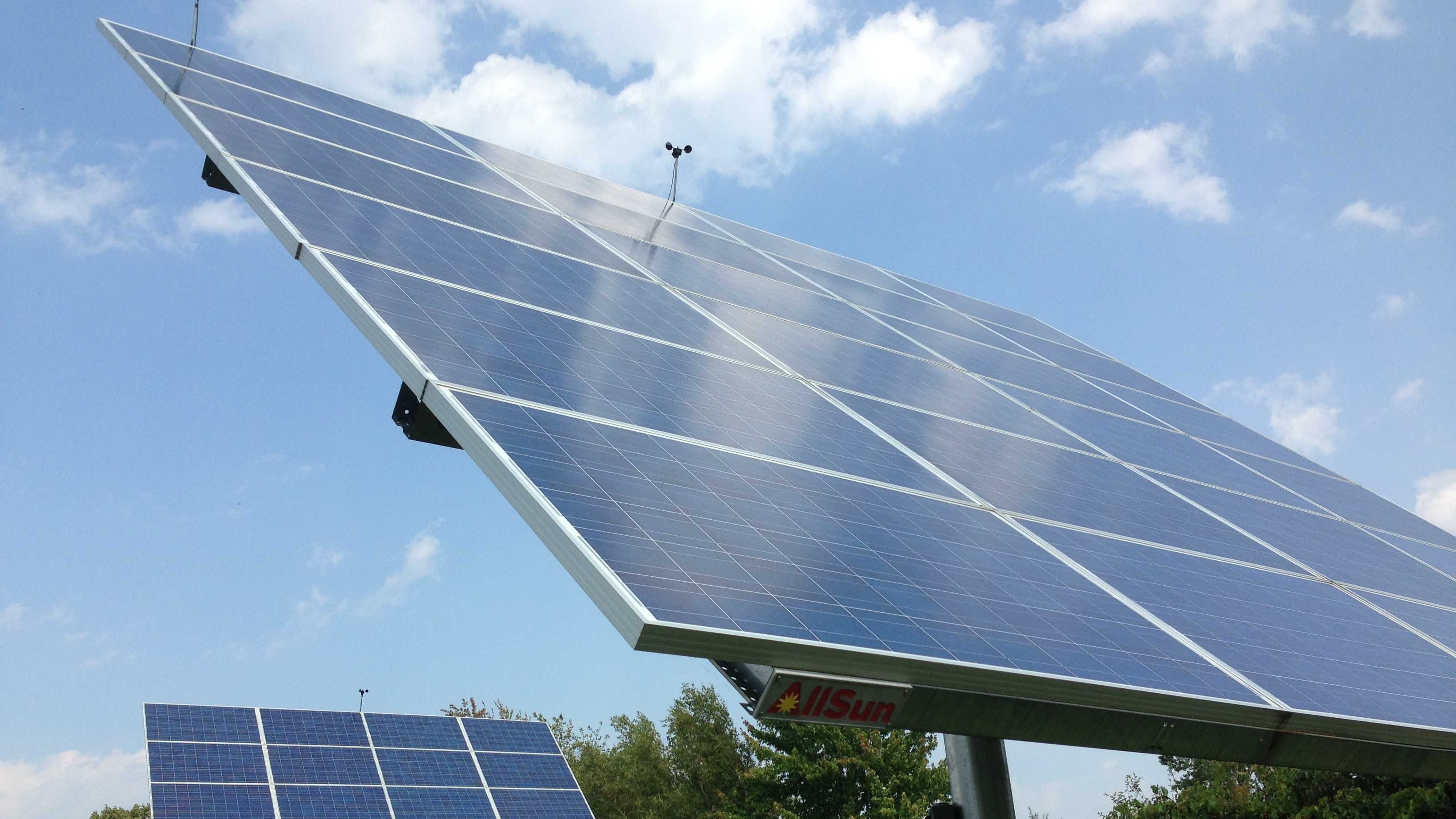 All-Earth Renewables' 'Suntracker' generates electricity Wednesday in Williston. The panels adjust with the arc of the sun, generating up to 40 percent more electricity than fixed models.