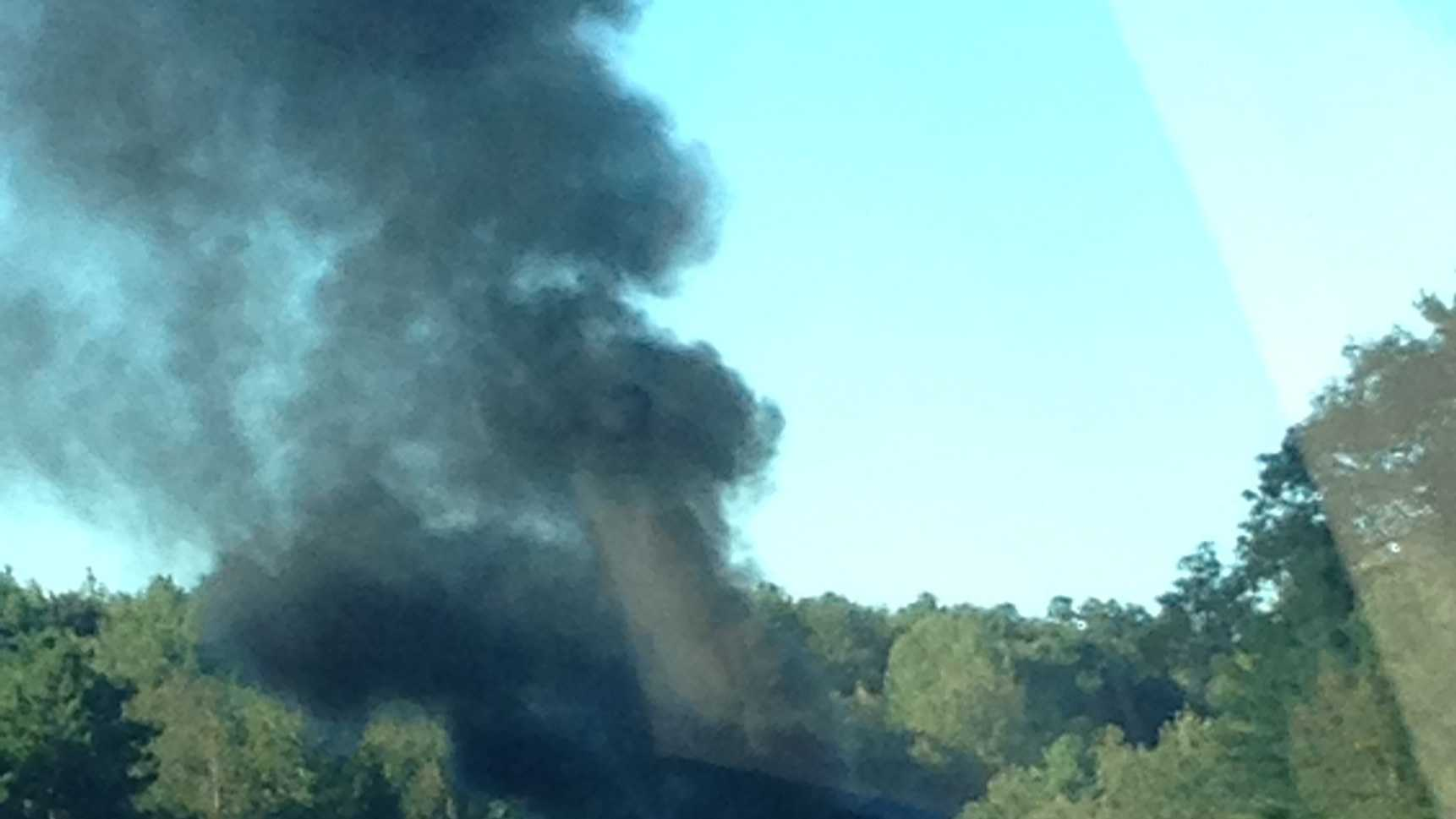 A car fire on I-89 in Georgia, Vt., holds up traffic on the evening commute on Tuesday, Sept. 17.