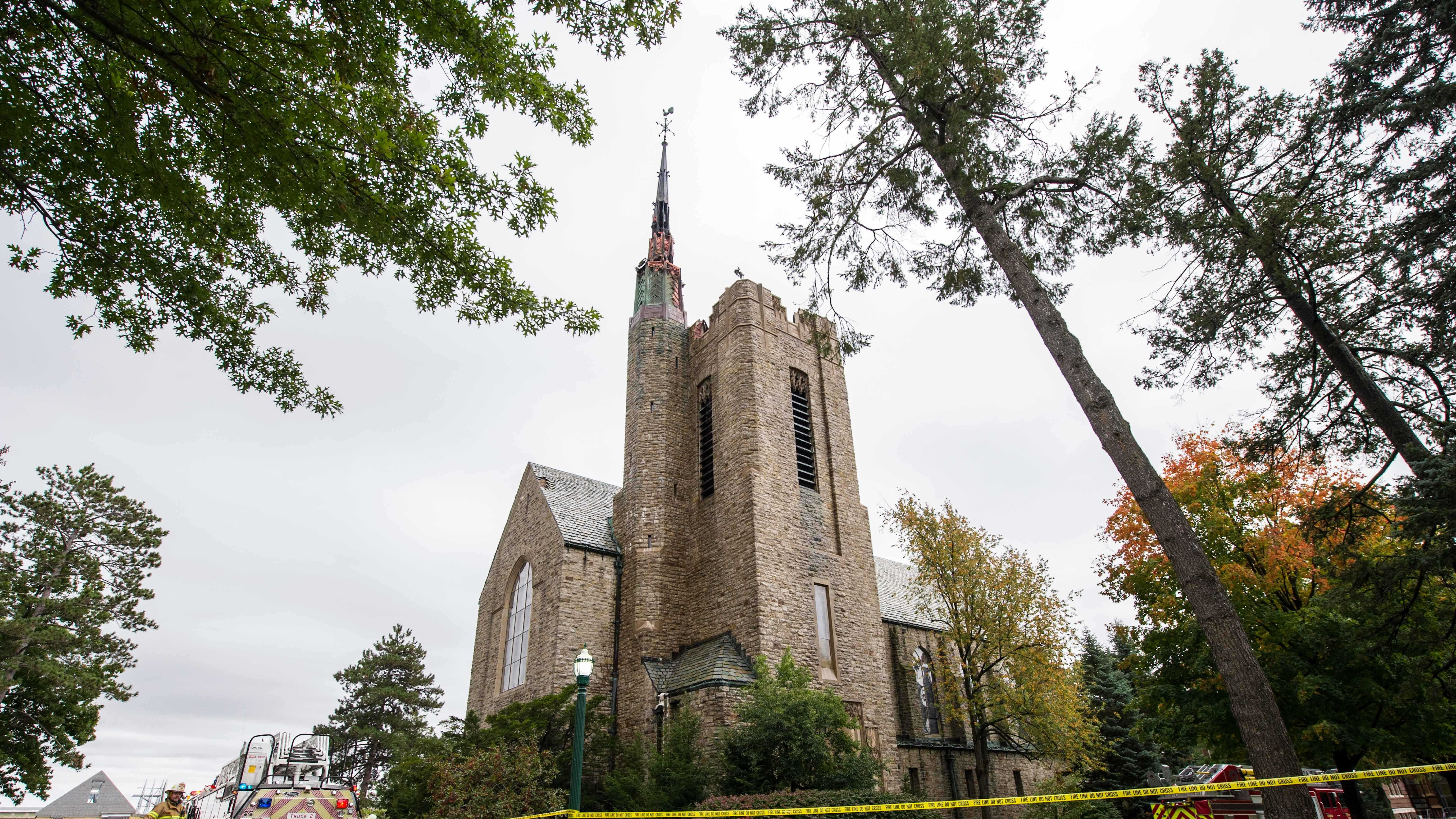 10-06-13 University's church steeple suffers fire - img