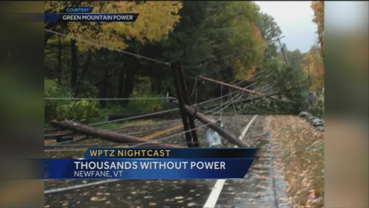 An October wind and rain storm snapped trees and utility poles across the region, leaving thousands without power.