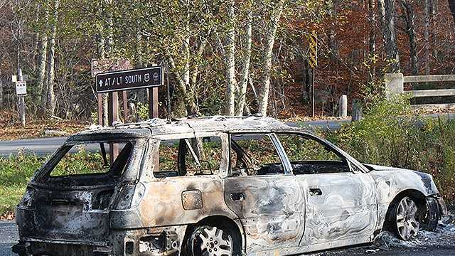 Backpacker's car destroyed by fire