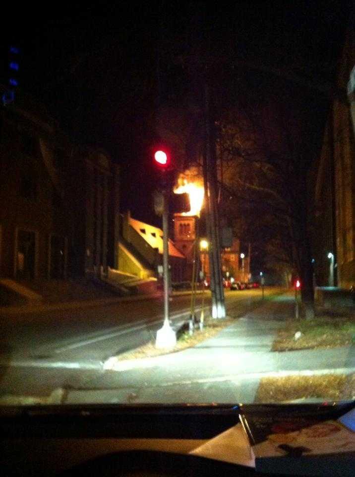 Downtown church fire in BurlingtonCourtesy of Dawn Dumas Bates