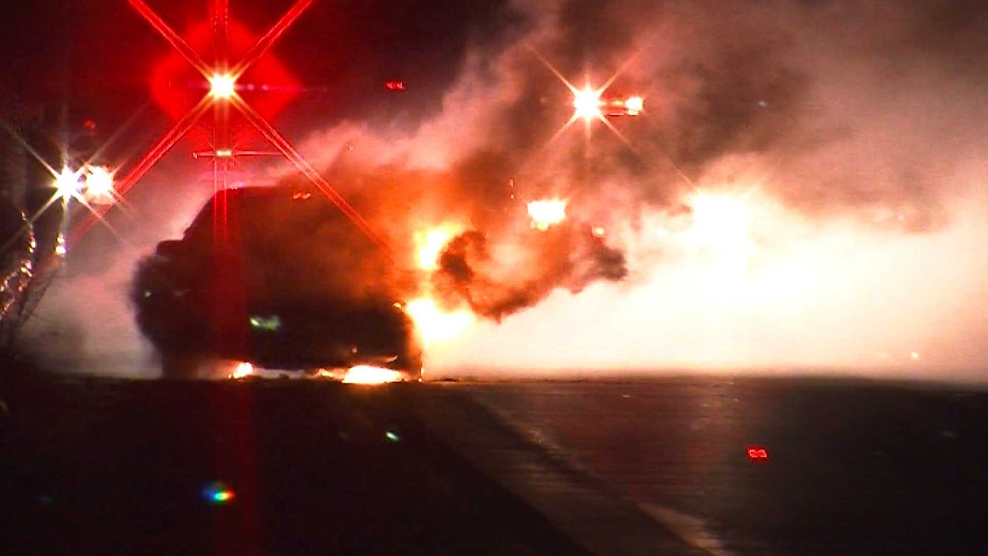 A car fire shut down part of Interstate 89 southbound Thursday. There are no reports of any injuries.
