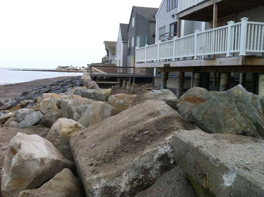 The New England coastline took a pounding from the storm from the storm surge and high winds.