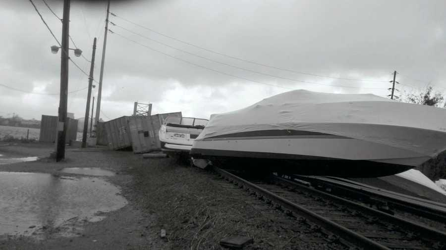 Boats and other debris sit on the track on the Long Island Railroad's Long Beach Branch near the bridge at Reynolds Channel in Island Park/Long Beach, New York Tuesday Oct. 30, 2012.