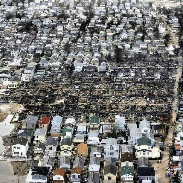 An aerial photo of Breezy Point, Queens, shows a charred hole where over 100 homes once stood. A blaze ignited during Sandy consumed a significant portion of the firefighter-built neighborhood, but thankfully caused no serious injuries.