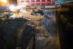 Sea water floods the Ground Zero construction site in New York.