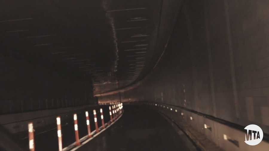 The lights are out in the tunnel, which extends from the southern tip of Manhattan to Brooklyn's Red Hook neighborhood.
