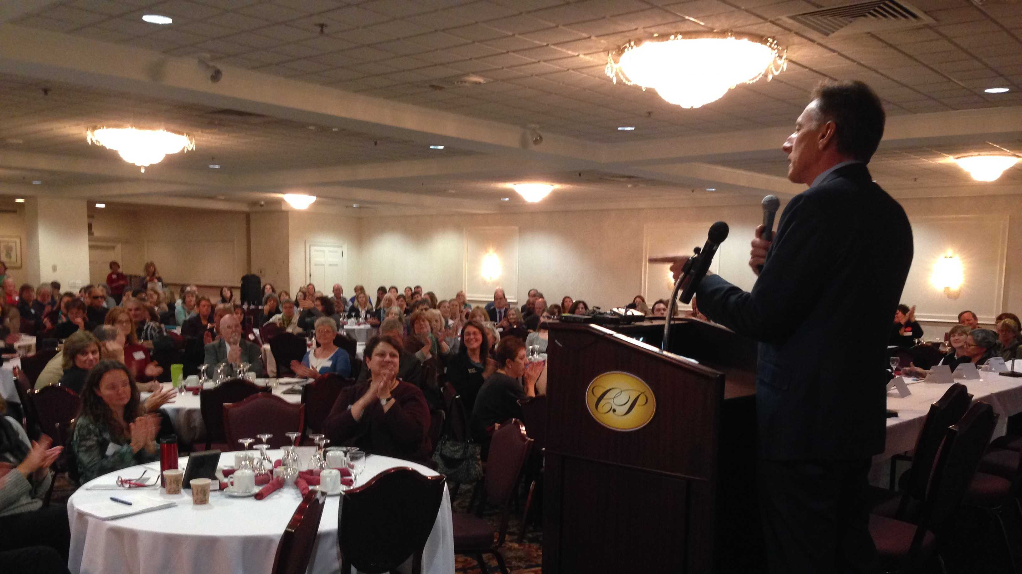 Peter Shumlin addresses the first-ever Governor's Early Childhood Summit Tuesday at the Capital Plaza Hotel.