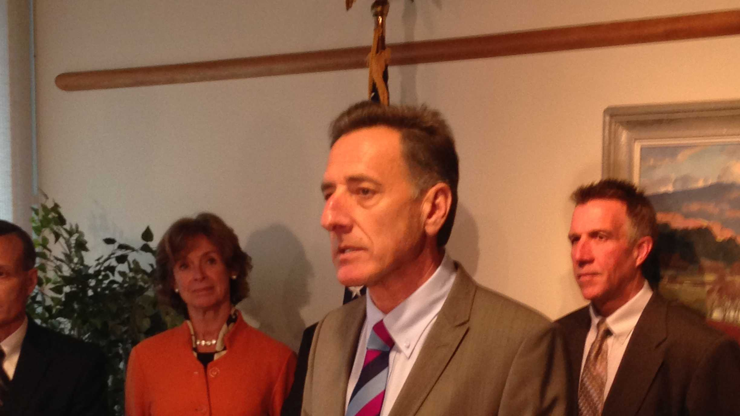 Gov. Peter Shumlin and health exchange team announce new contingency plan should exchange website glitches continue to disappoint.