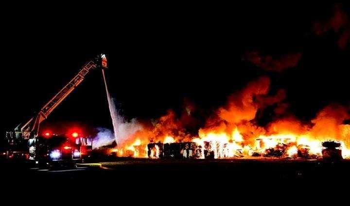 A massive fire broke out Saturday, Nov. 9 at Schluter Systems in Plattsburgh.