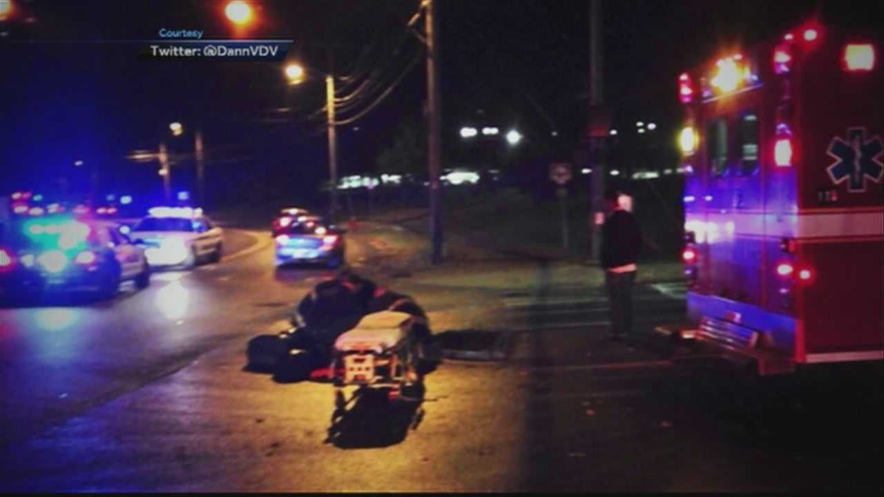 A biker was hit by a car in front of Fletcher-Allen Health Care shortly before 10 p.m.