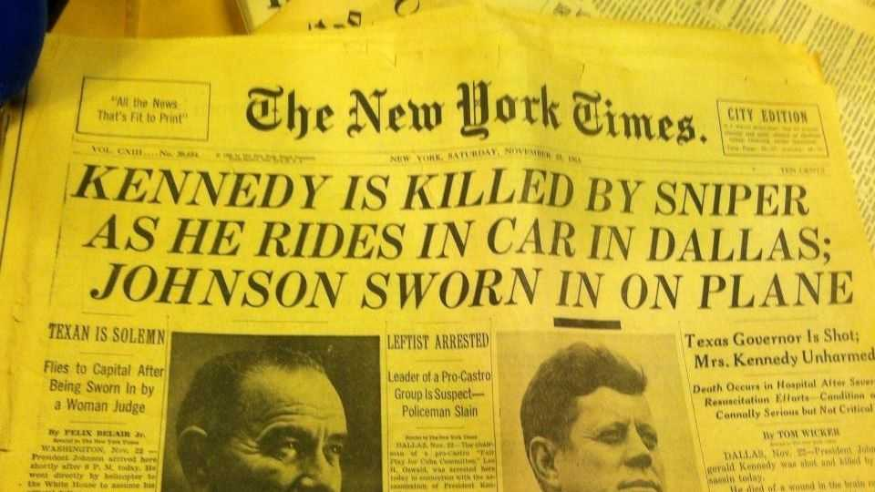 Front page of New York Times from the day after JFK's death
