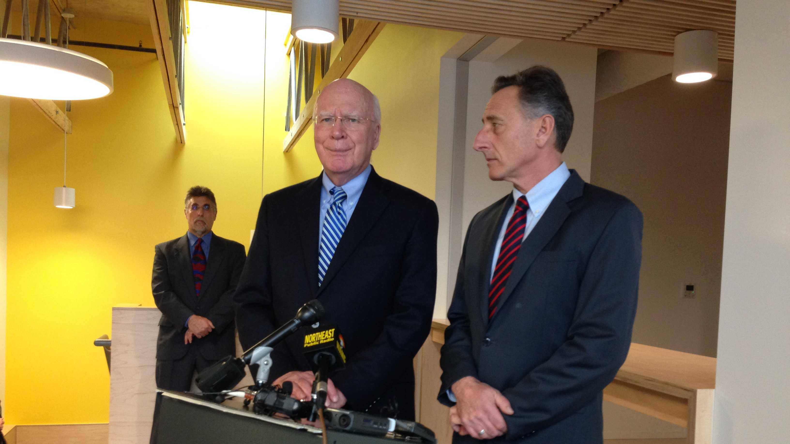 Sen. Patrick Leahy and Gov. Peter Shumlin address a press conference Monday in Barre.