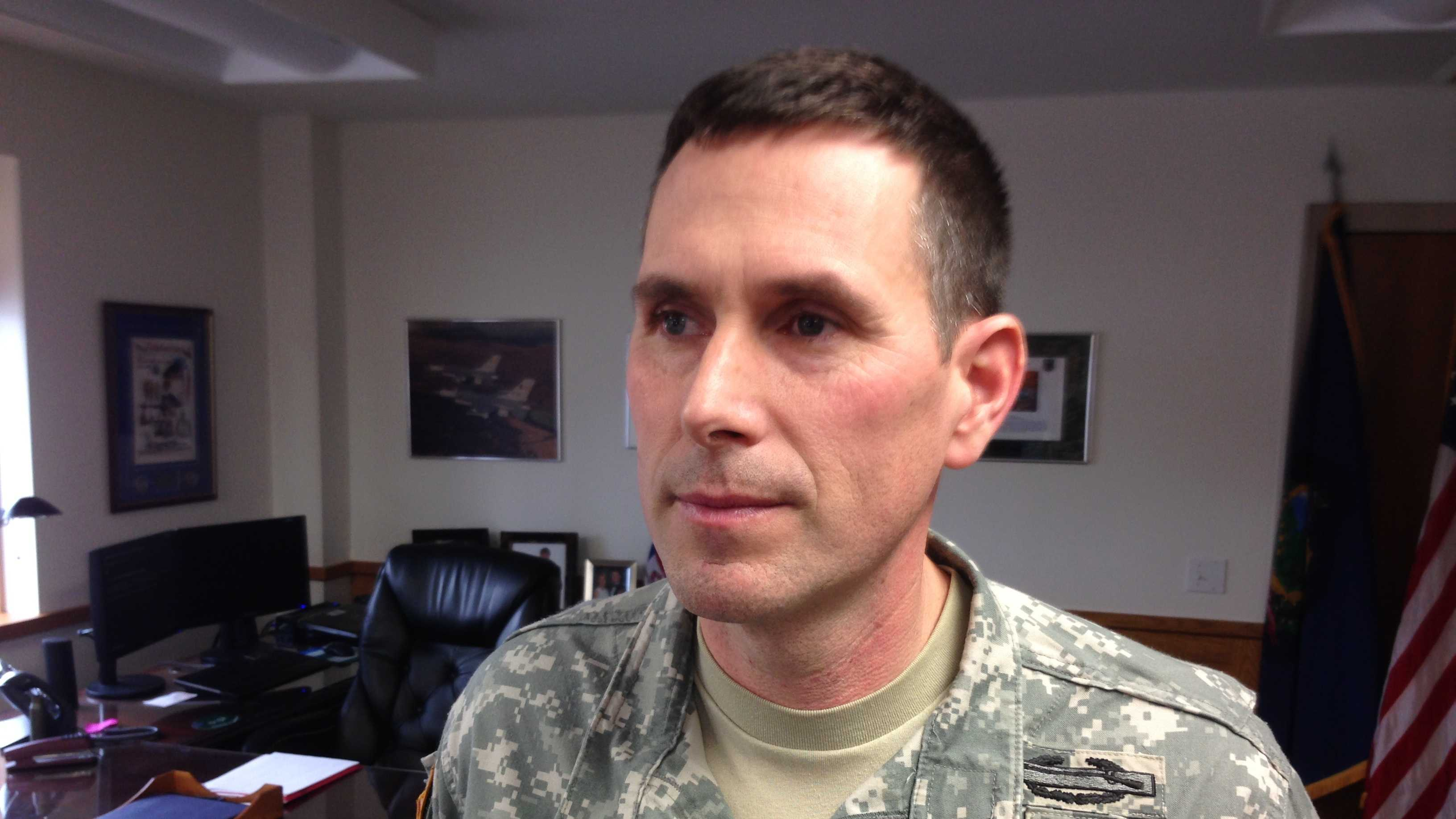 Col. Nate Lord at Camp Johnson Friday discusses the upcoming deployment Friday afternoon.
